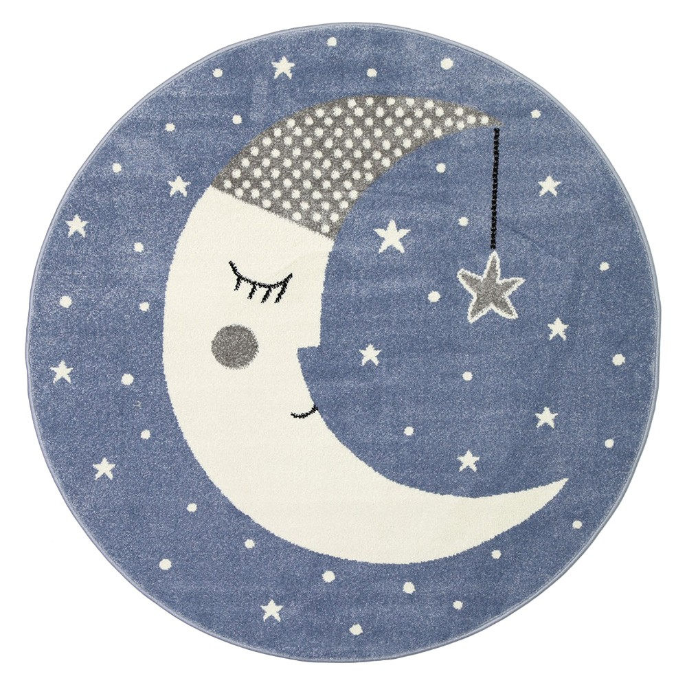 Nova Sleeping Moon Round Kids Rug, 133cm