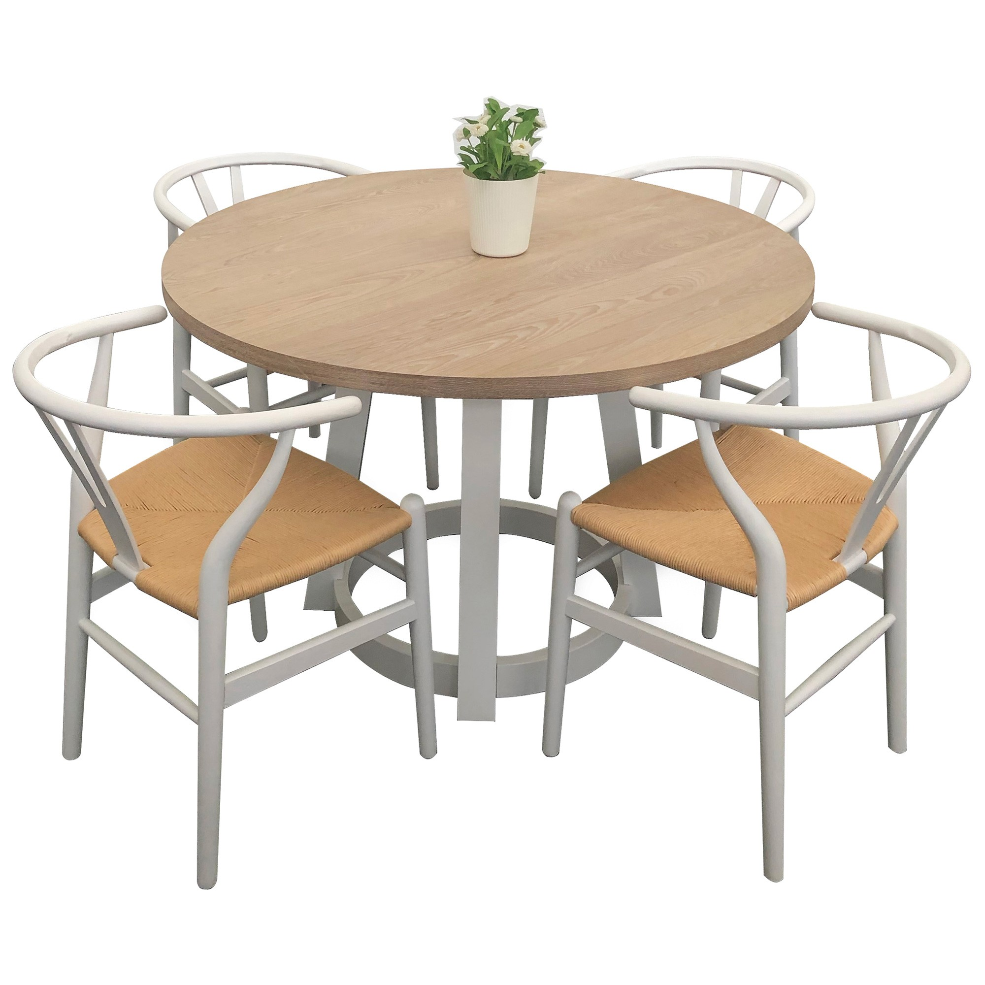 Havana 5 Piece Wooden Round Dining Table Set, 120cm