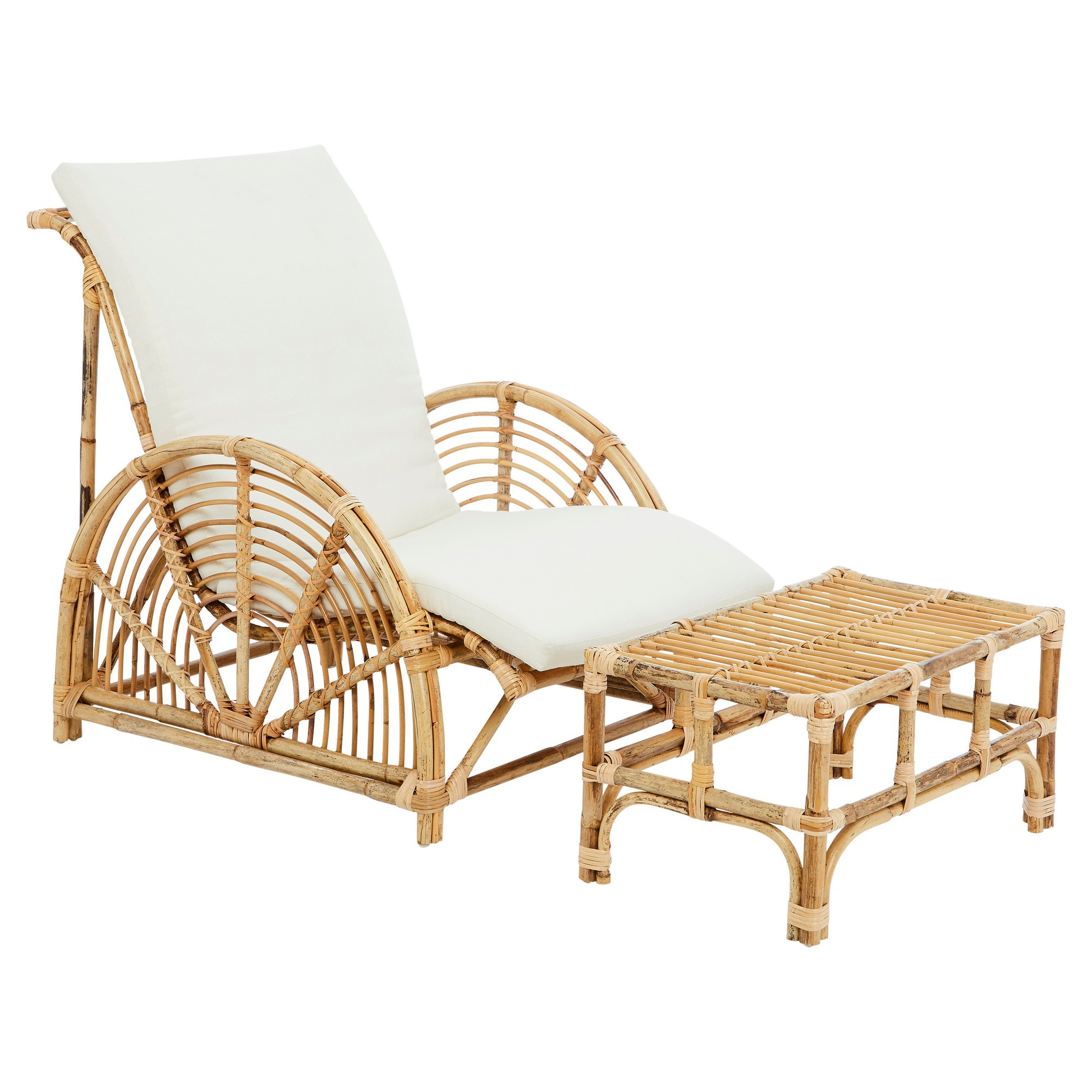 Havana Rattan Lounge Chair & Footstool Set, Natural