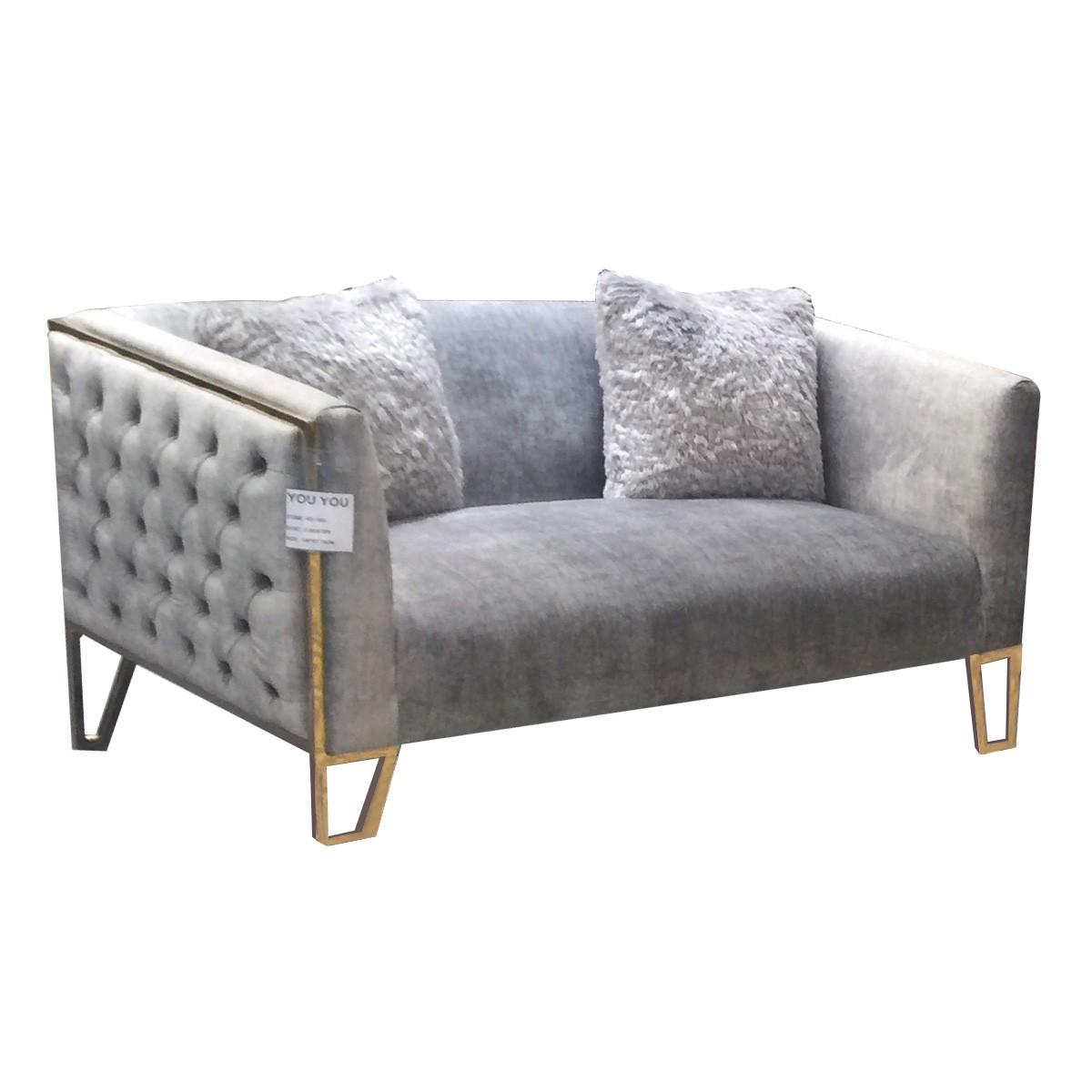 Alice Fabric Sofa, 2 Seater, Grey / Gold