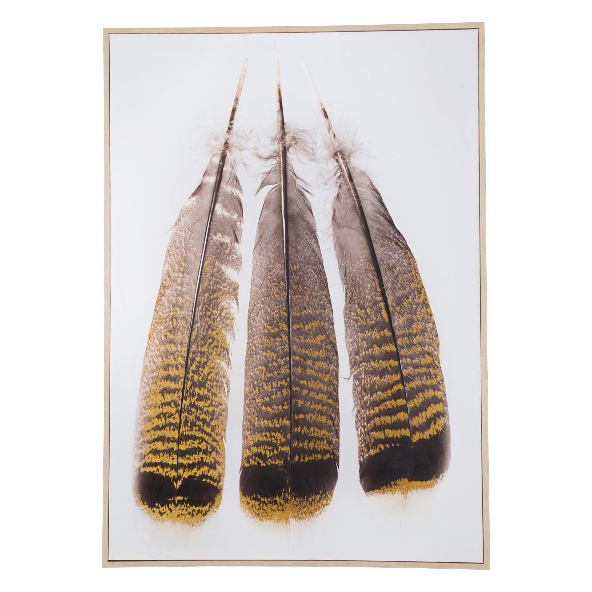 Three Feather Framed Canvas Wall Art Print, 92cm
