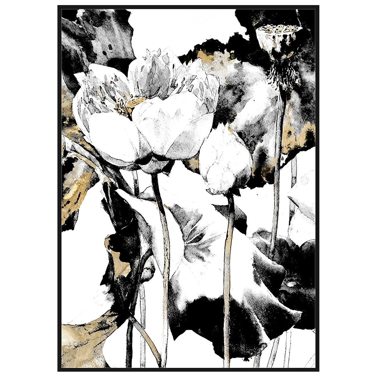 Framed Paper Wall Art Print, Ink Lotus, 122cm