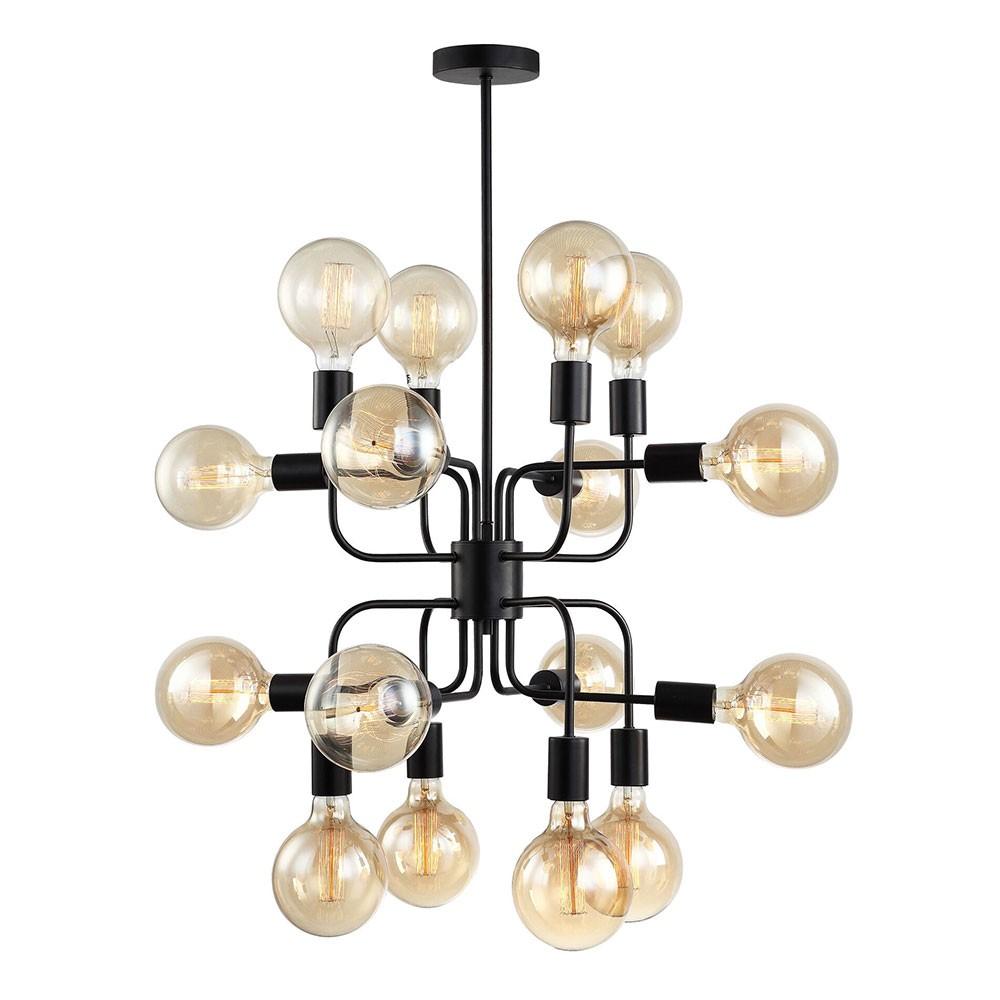 Hexa Iron Pendant Light, 16 Light, Matt Black