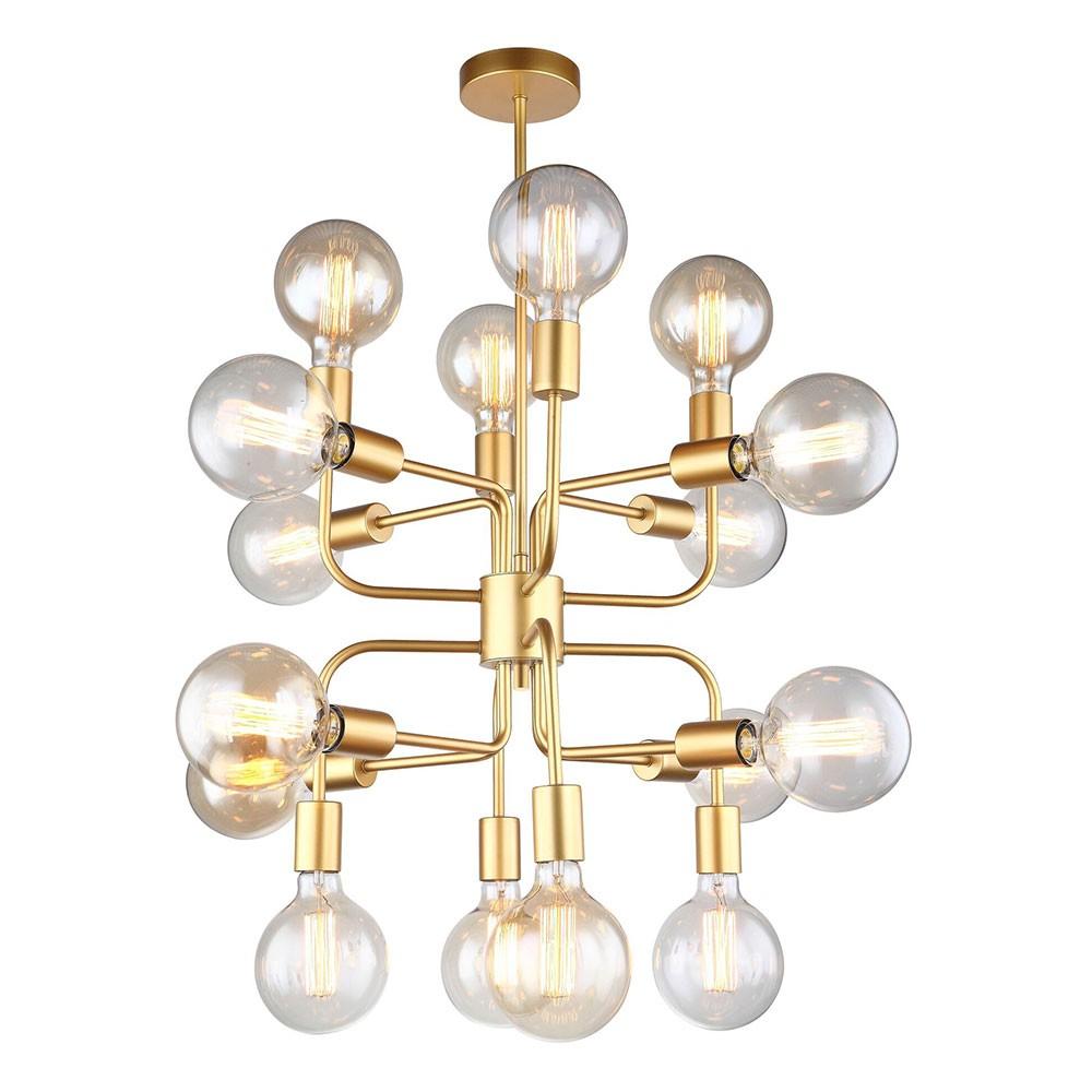 Hexa Iron Pendant Light, 16 Light, Matt Gold
