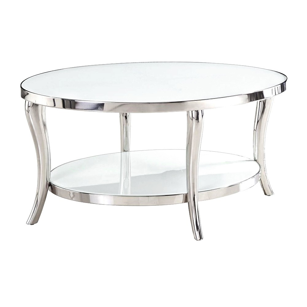 Pascale Glass Top Stainless Steel Oval Coffee Table, 90cm, Nickel / White