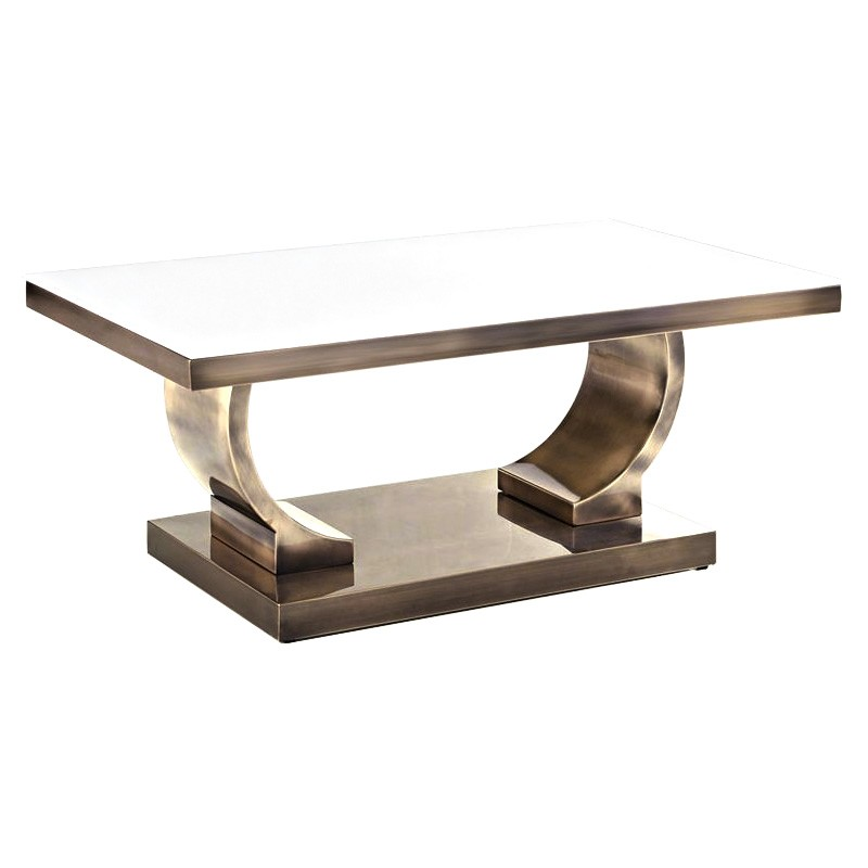 Zoe Glass Top Stainless Steel Coffee Table, 100cm, Gold / White