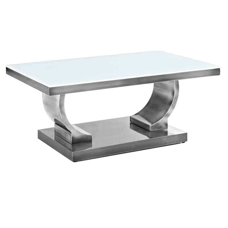 Zoe Glass Top Stainless Steel Coffee Table, 100cm, Nickel / White