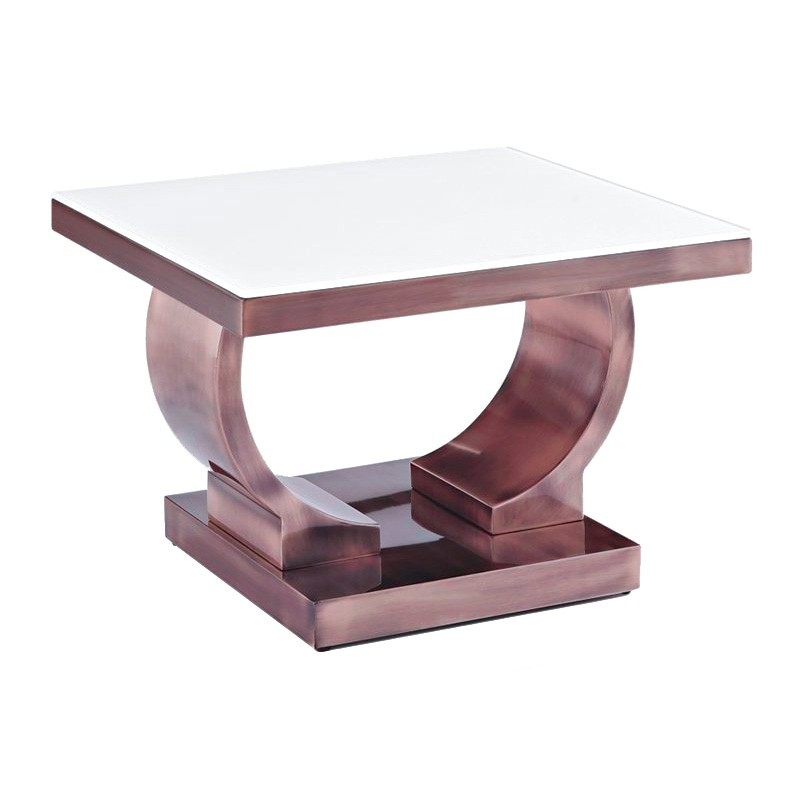 Zoe Glass Top Stainless Steel Side Table, Copper / White