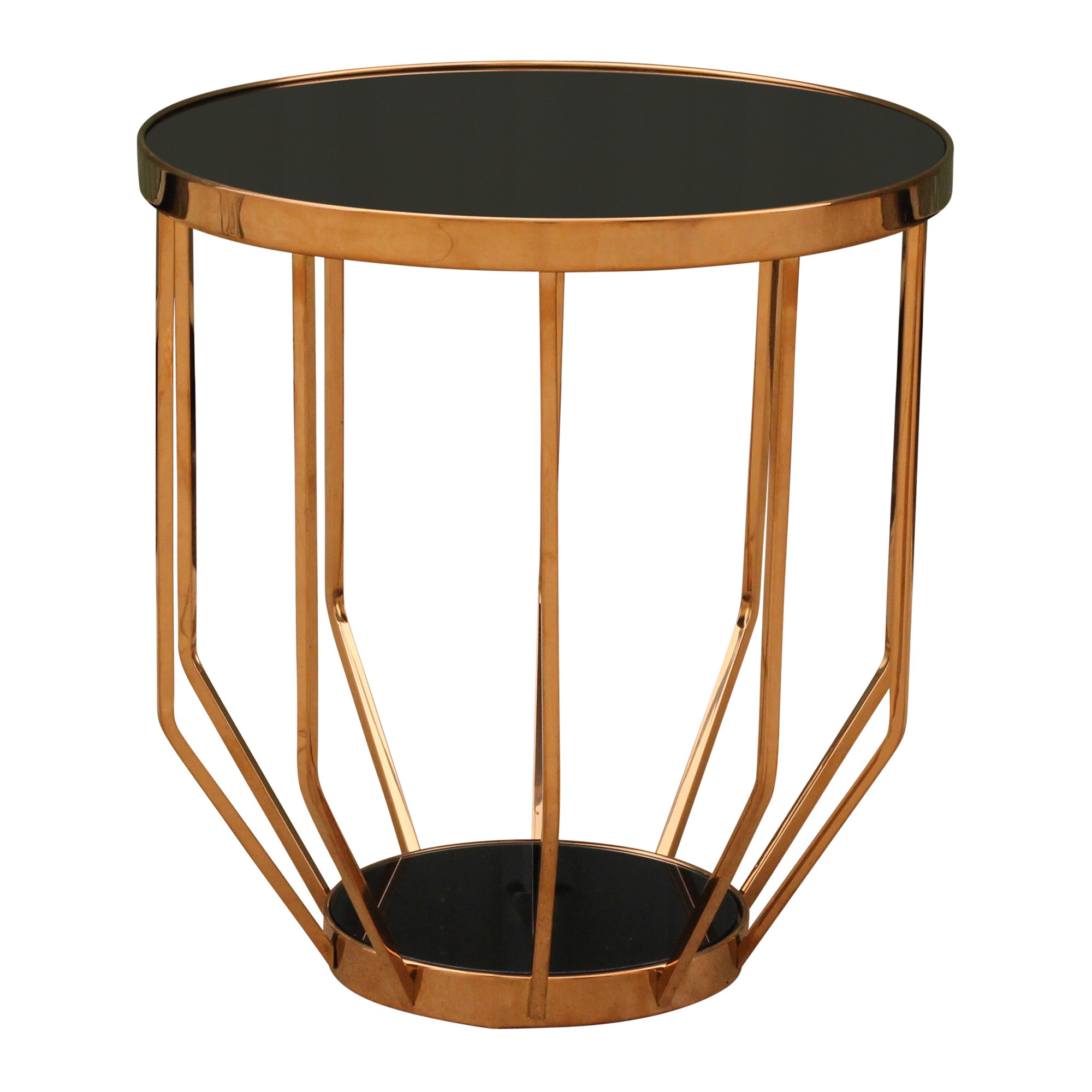 Marina Glass Top Stainless Steel Round Side Table, Rose Gold / Black