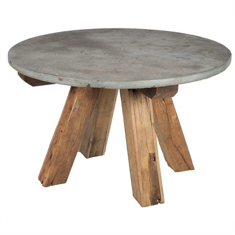 Apollo Stone & Reclaimed Timber Round Coffee Table, 60cm
