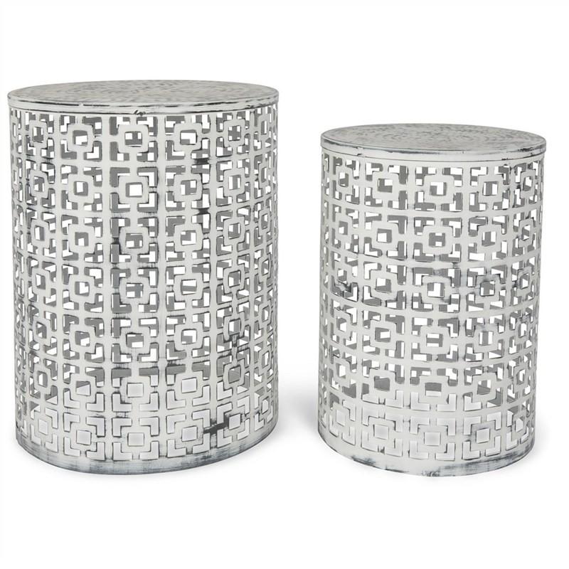 Temara 2 Piece Cutout Iron Side Table Set - White Wash