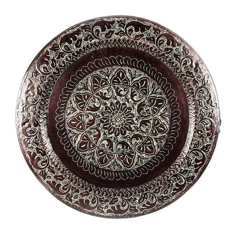 Round Aluminium Tray Embossed with Hooks - Green Patina