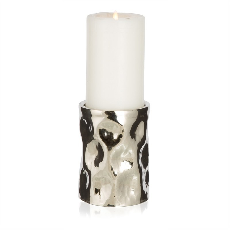 Otara Small Aluminium Round Pillar Candle Holder - Silver
