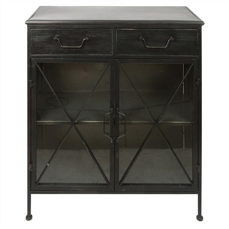 Hoover Industrial Iron 2 Door 2 Drawer Sideboard, 82cm, Distressed Black