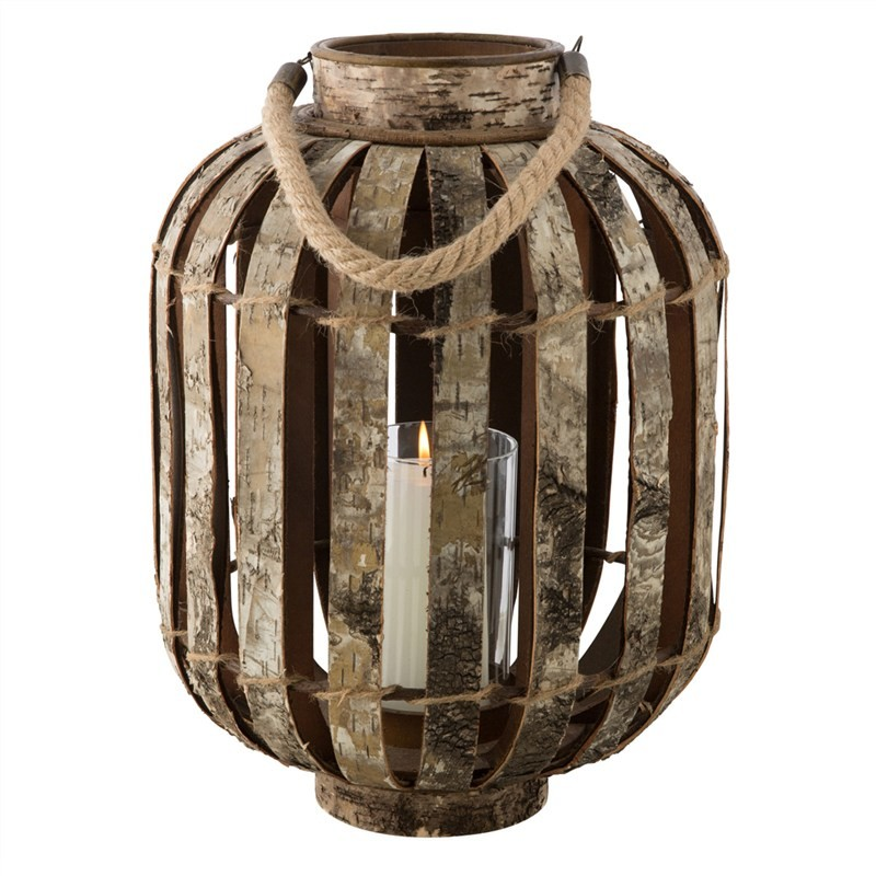 Burford Birch Bark Wooden Candle Holder, Large