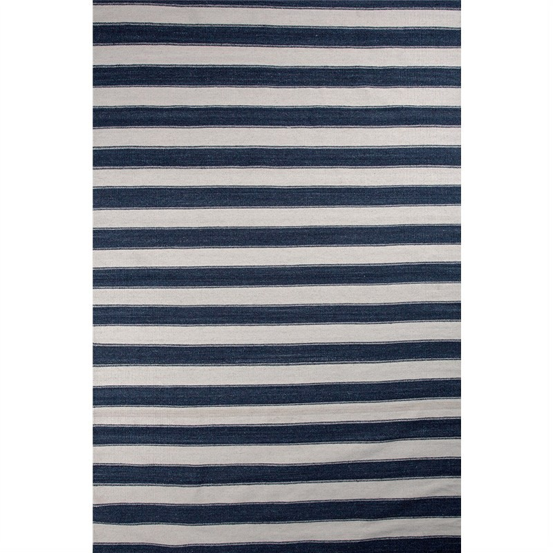 Kelim Navy Stripe Cotton Rug - 230x160cm