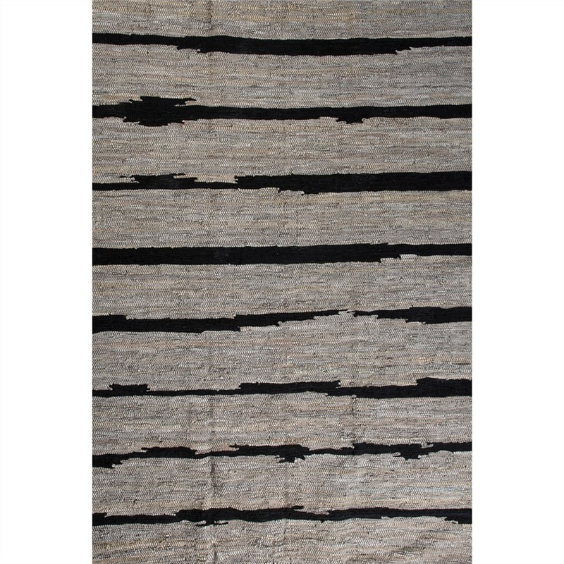 Jordi 200x290cm Striped Leather and Cotton Rug