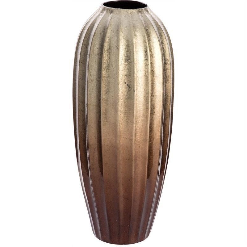 Ramses Painted Ceramic Large Fluted Barrel Vase - Brass/Copper