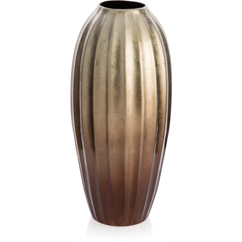 Ramses Painted Ceramic Medium Fluted Barrel Vase - Brass/Copper