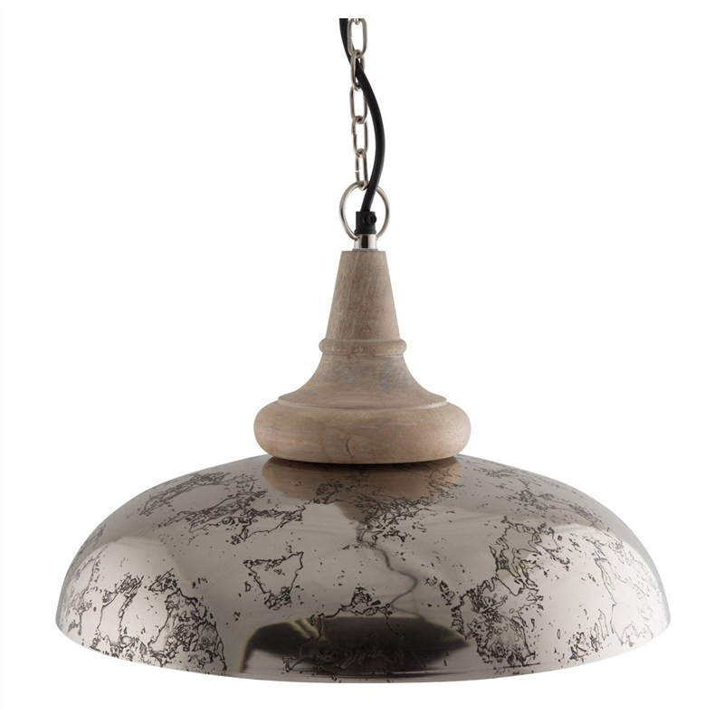Nereus Iron Pendant Light with Wooden Top - Large