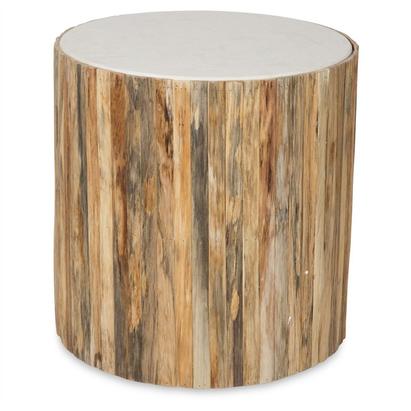 Arbor Stone Top Timber Round Side Table, Large