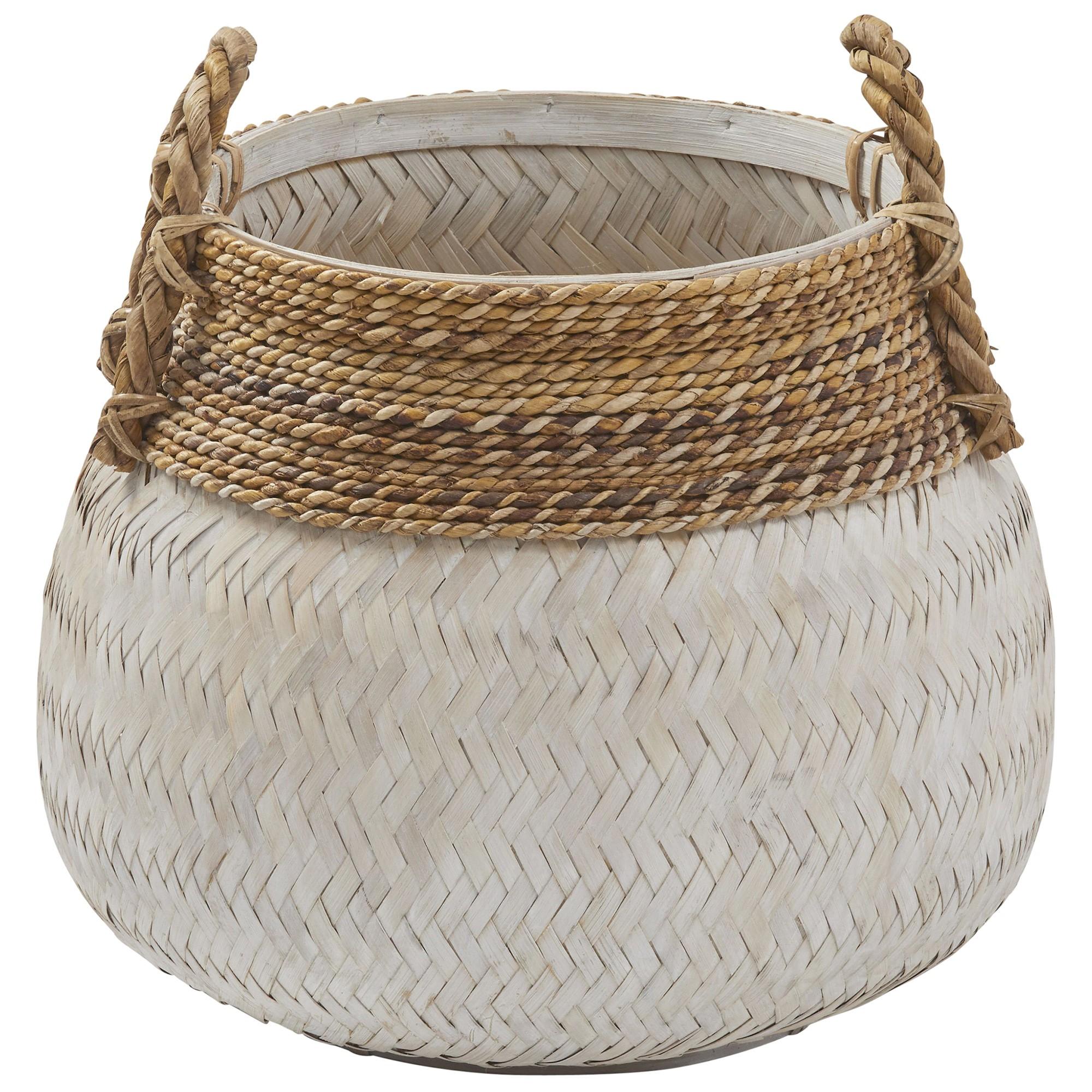 Bambu Rattan Basket, White Wash