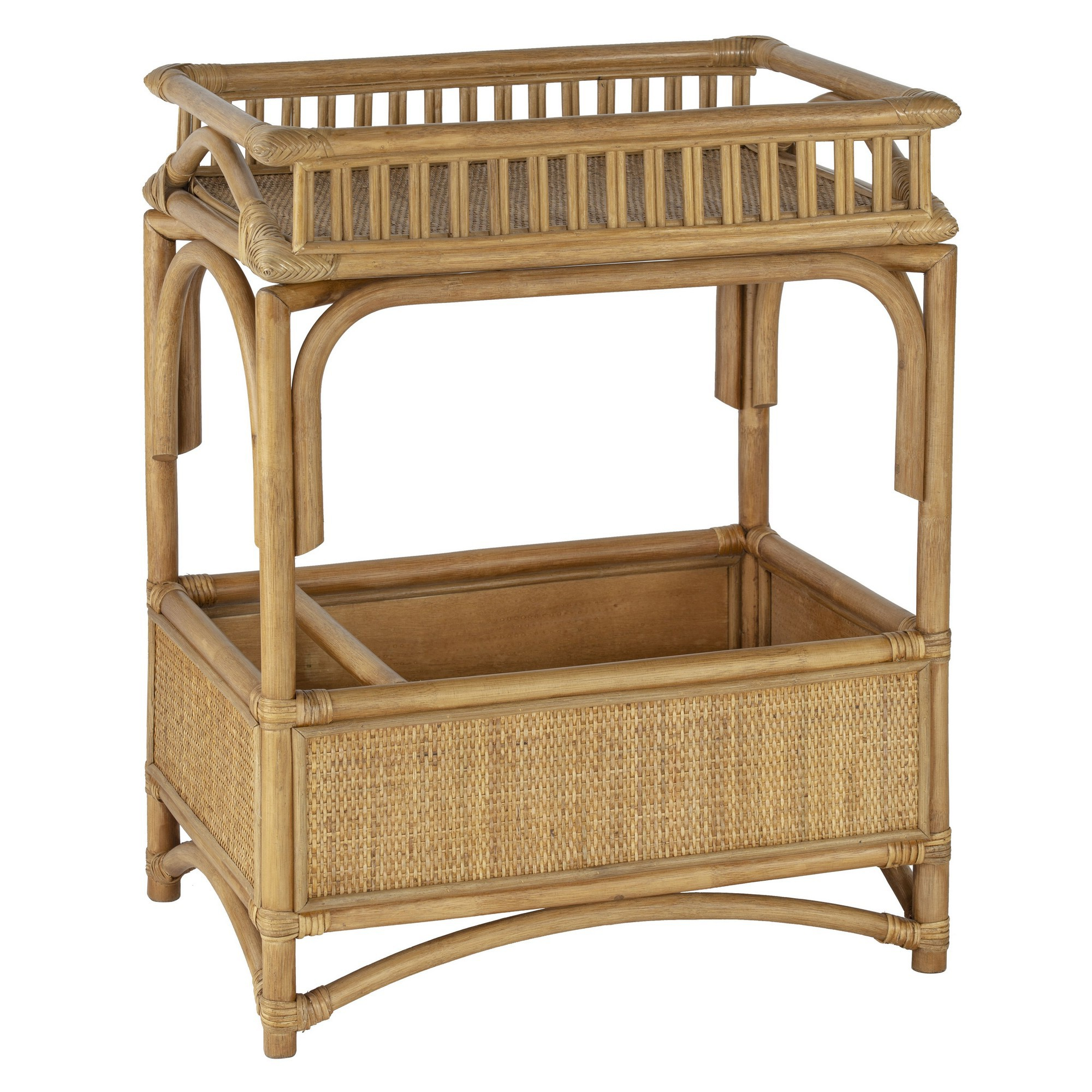 Hampton Rattan Tray Top Bar Cart