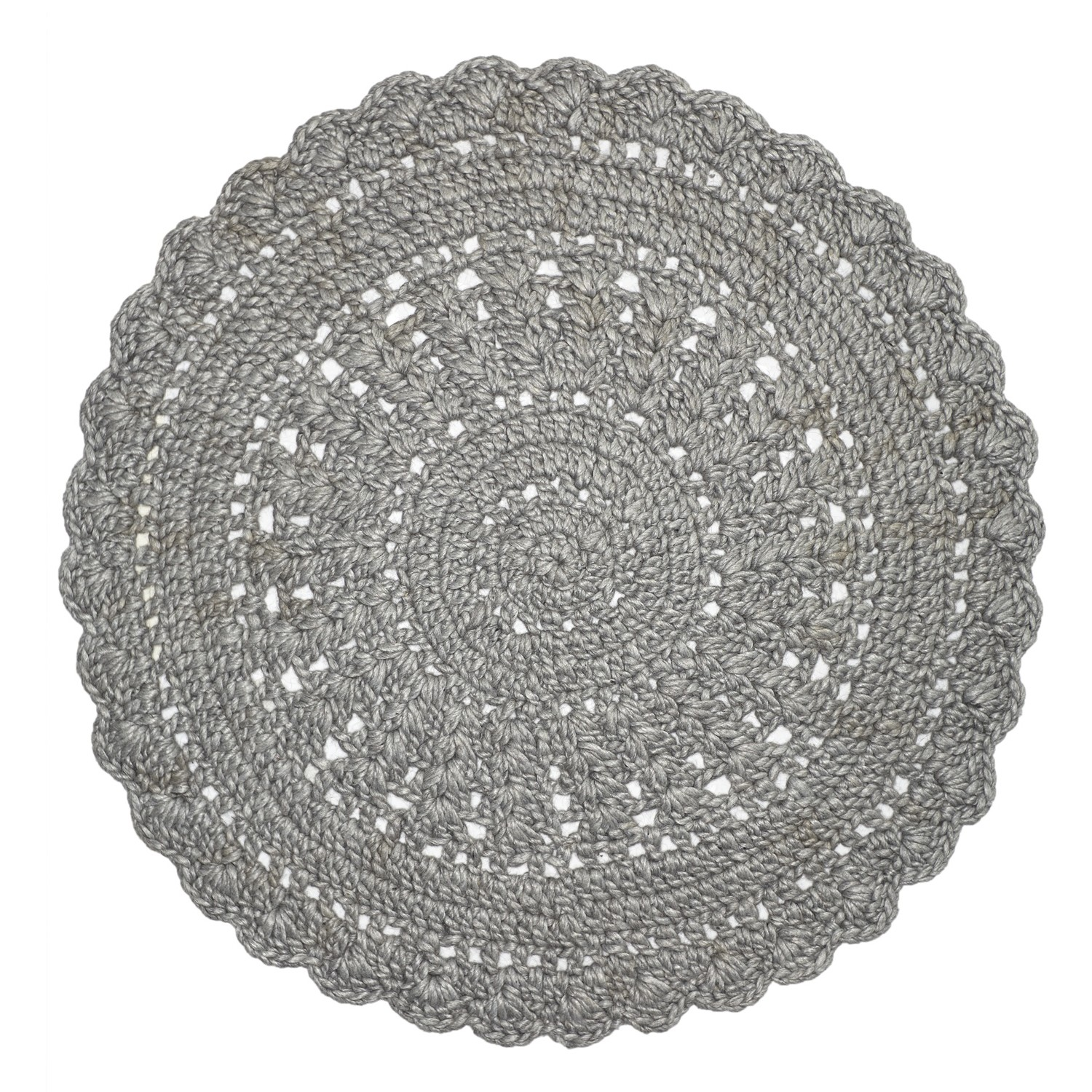 hooks Hand Knotted Modern Round Wool Rug, 150cm, Silver