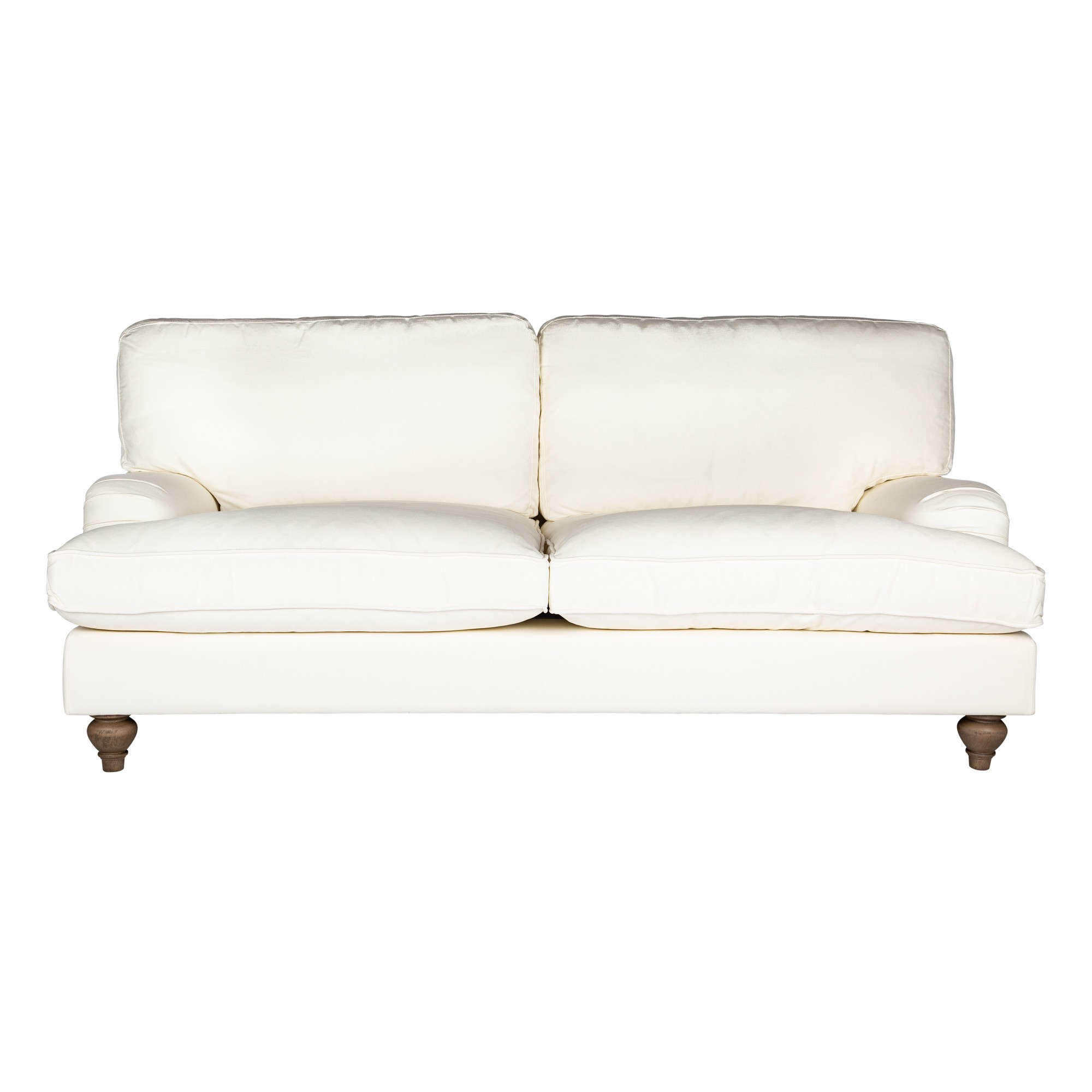 Jasmine Cotton Fabric Roll Arm Sofa, 2.5 Seater, Cream