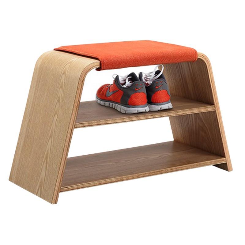 Leta Wooden Bench, 71cm, Natural / Orange