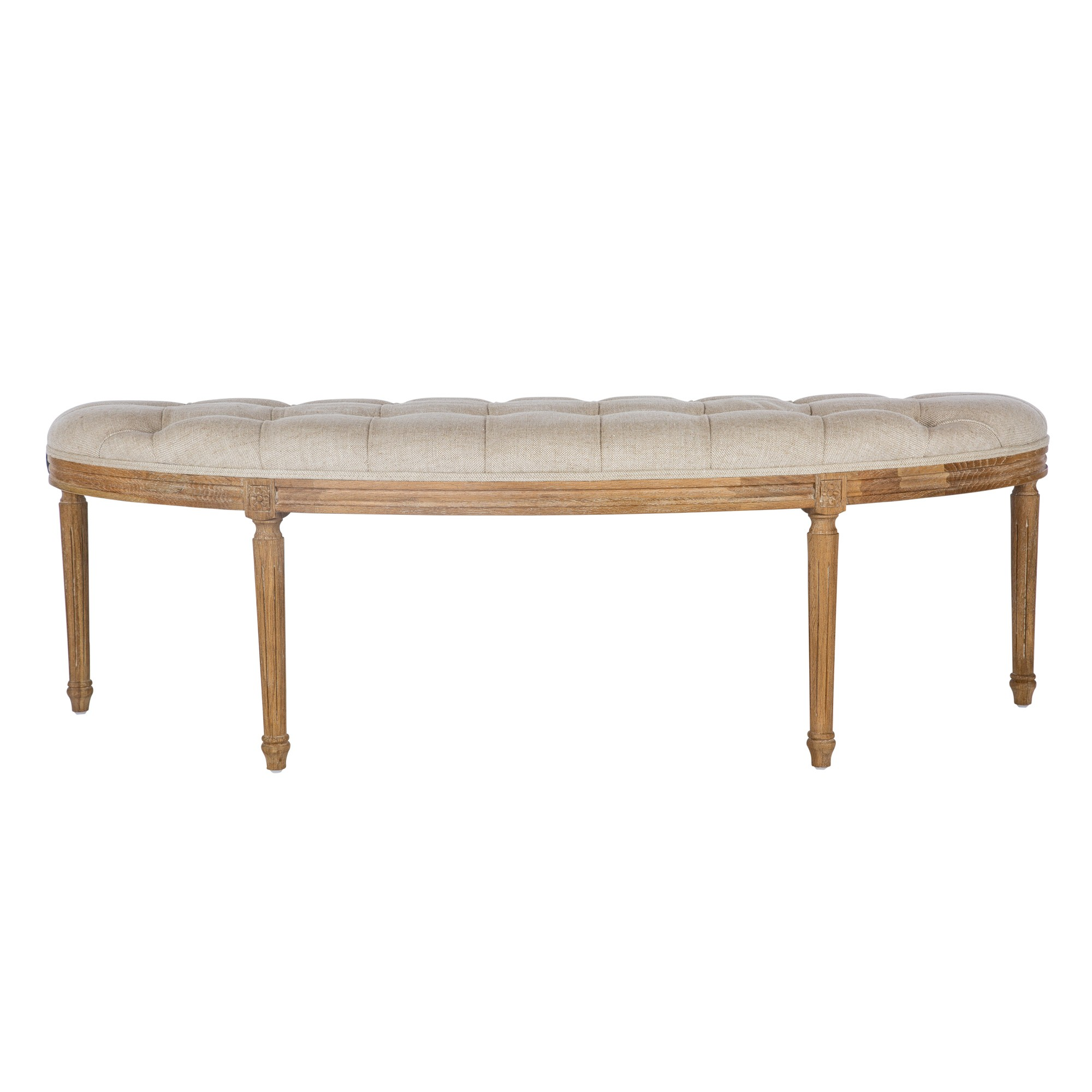 Madeleine Tufted Linen Fabric & Oak Timber Bench, 146cm