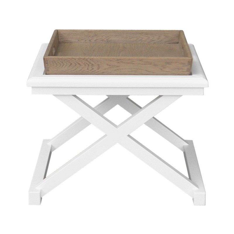 Darby Timber Tray Top Side Table, Weathered Oak / White