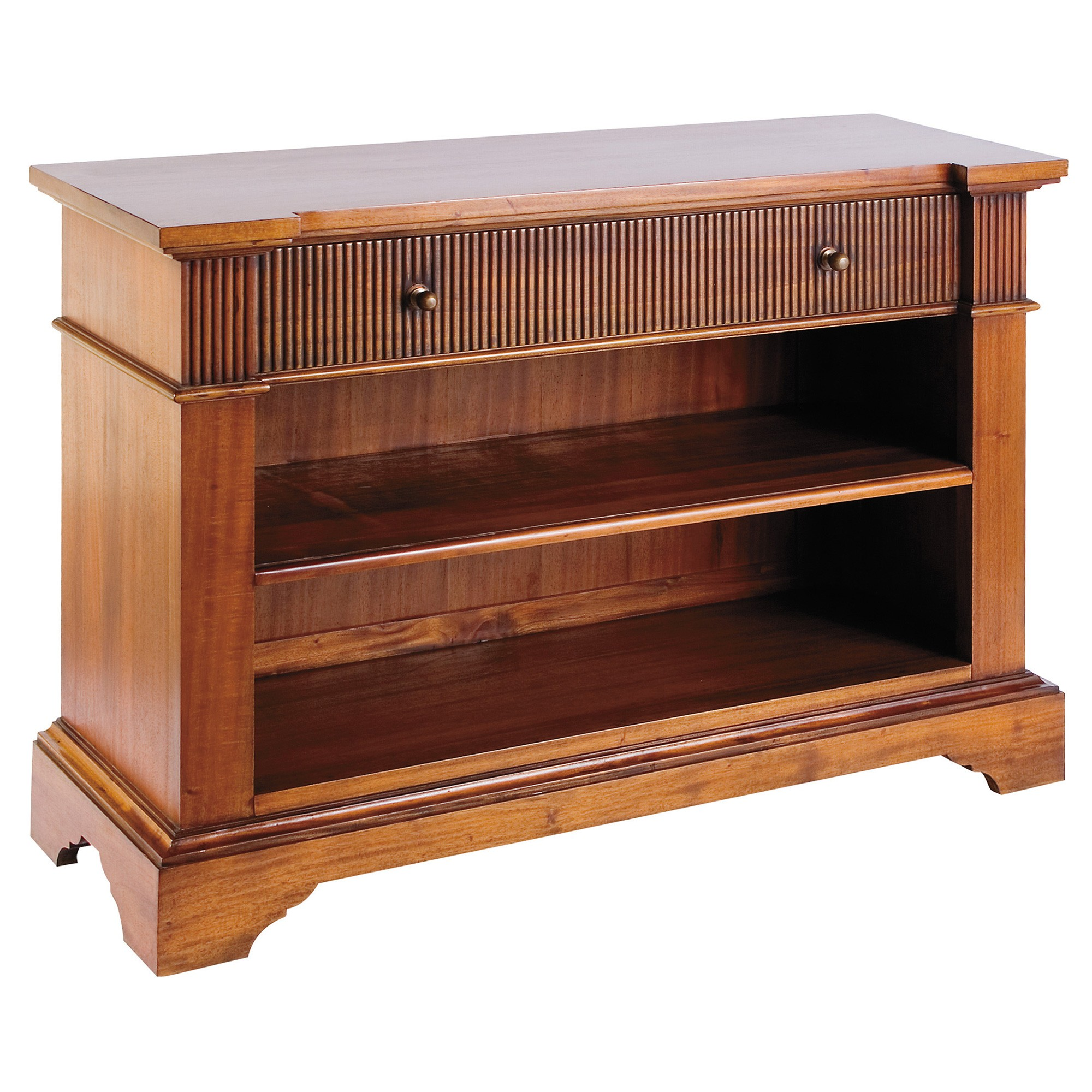 Hampton Mahogany Timber High TV Stand / Low Bookcase, 100cm, Light Walnut