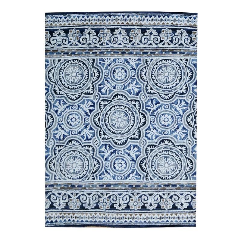 Botanical Modern Wool Rug, 210x150cm, Blue