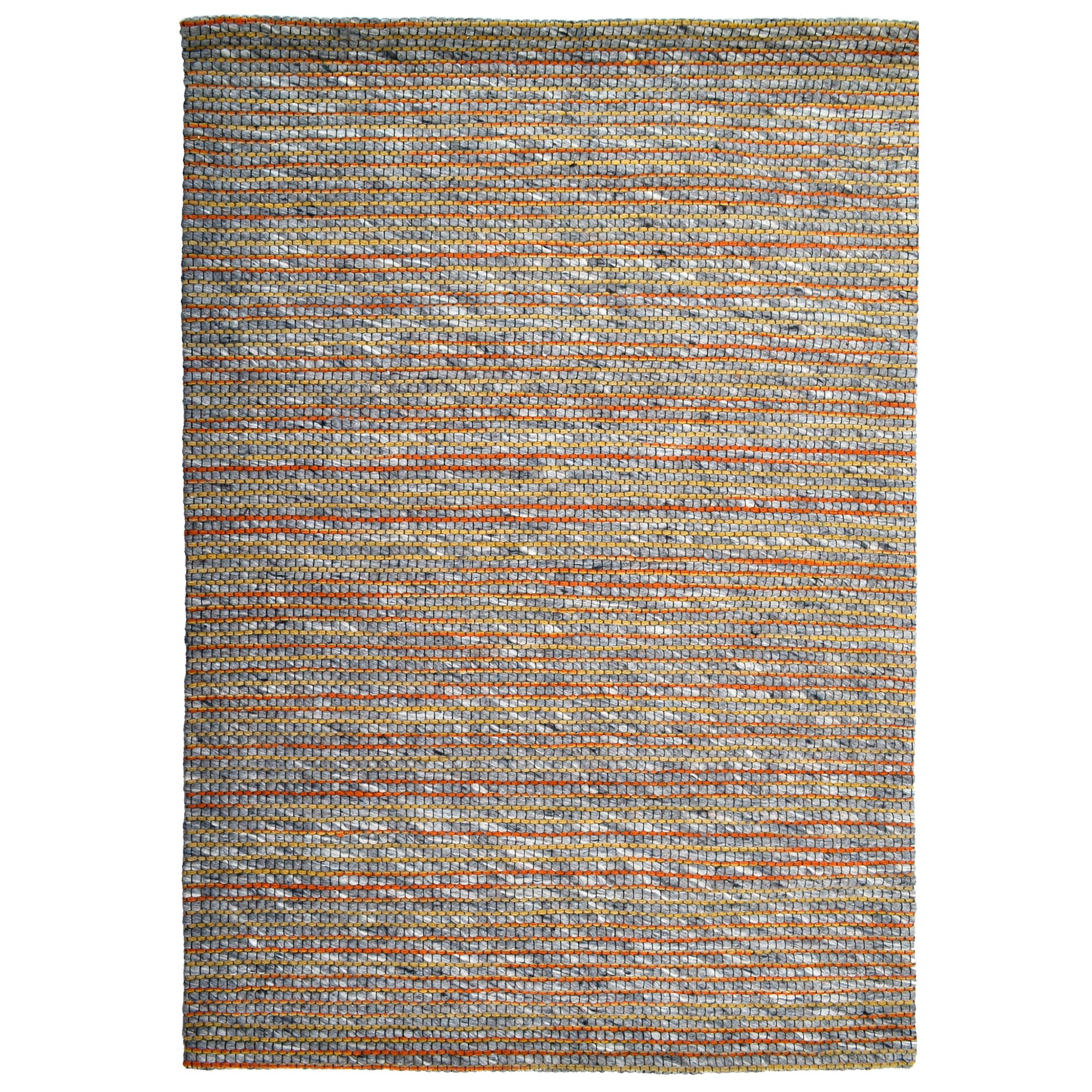 Sua Handwoven Wool Rug, 90x60cm, Orange/Charcoal