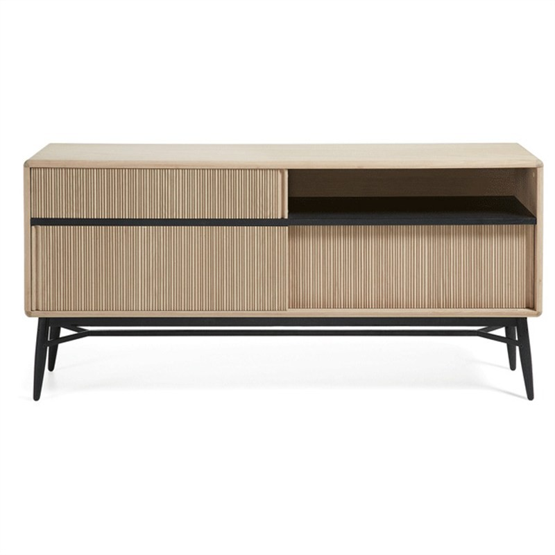 Herrick Solid Oak Timber & Metal Sideboard with Sliding Doors, 180cm