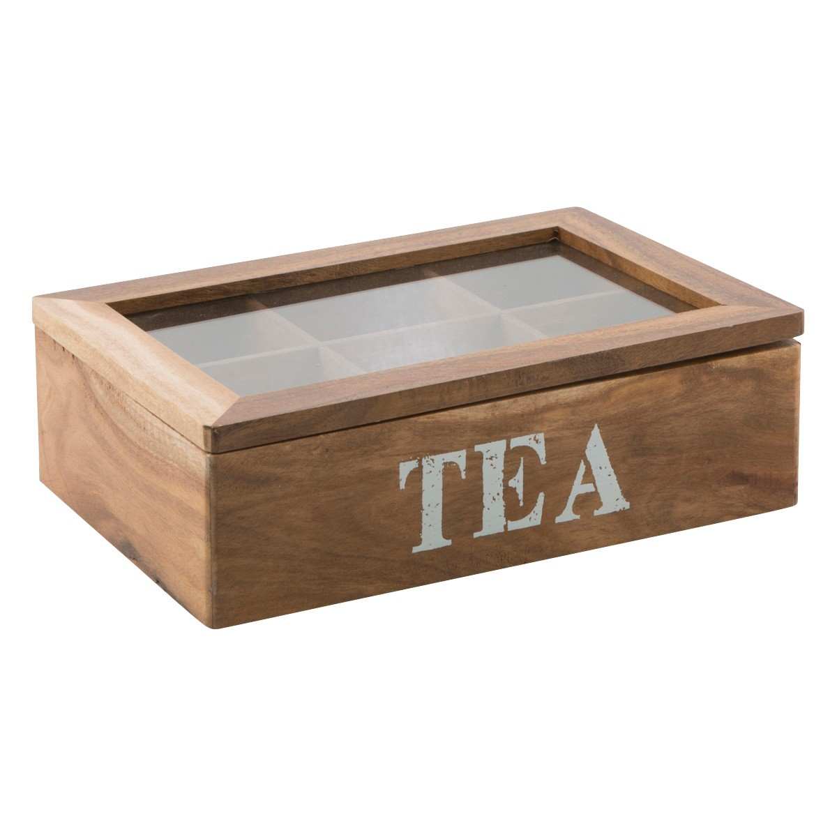 Delun Acacia Timber 6 Partition Tea Box