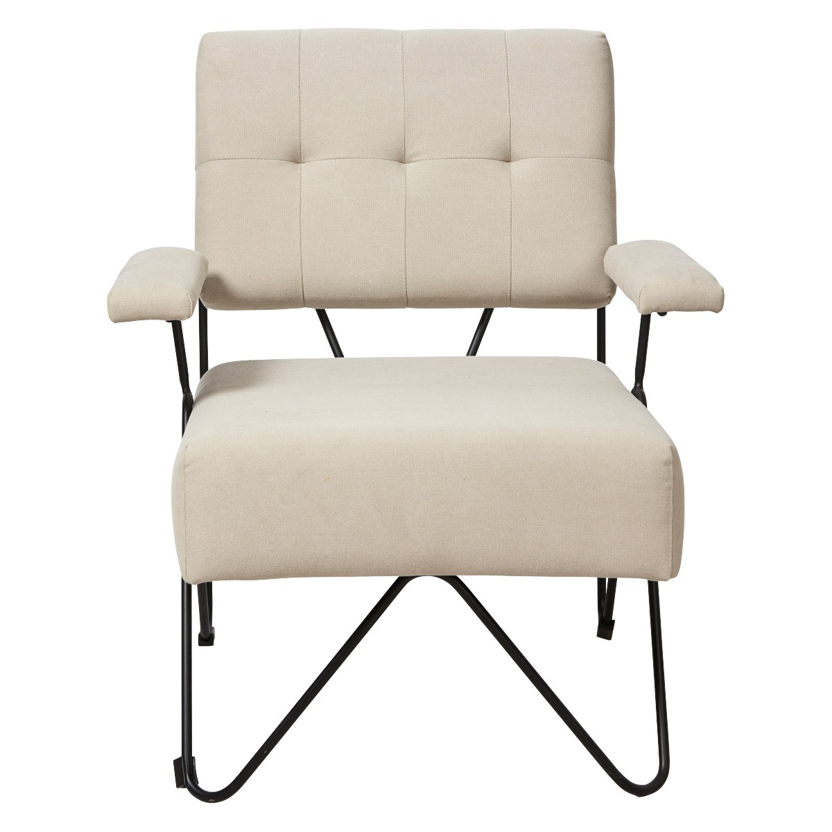 Takumi Cotton Fabric Armchair, Beige