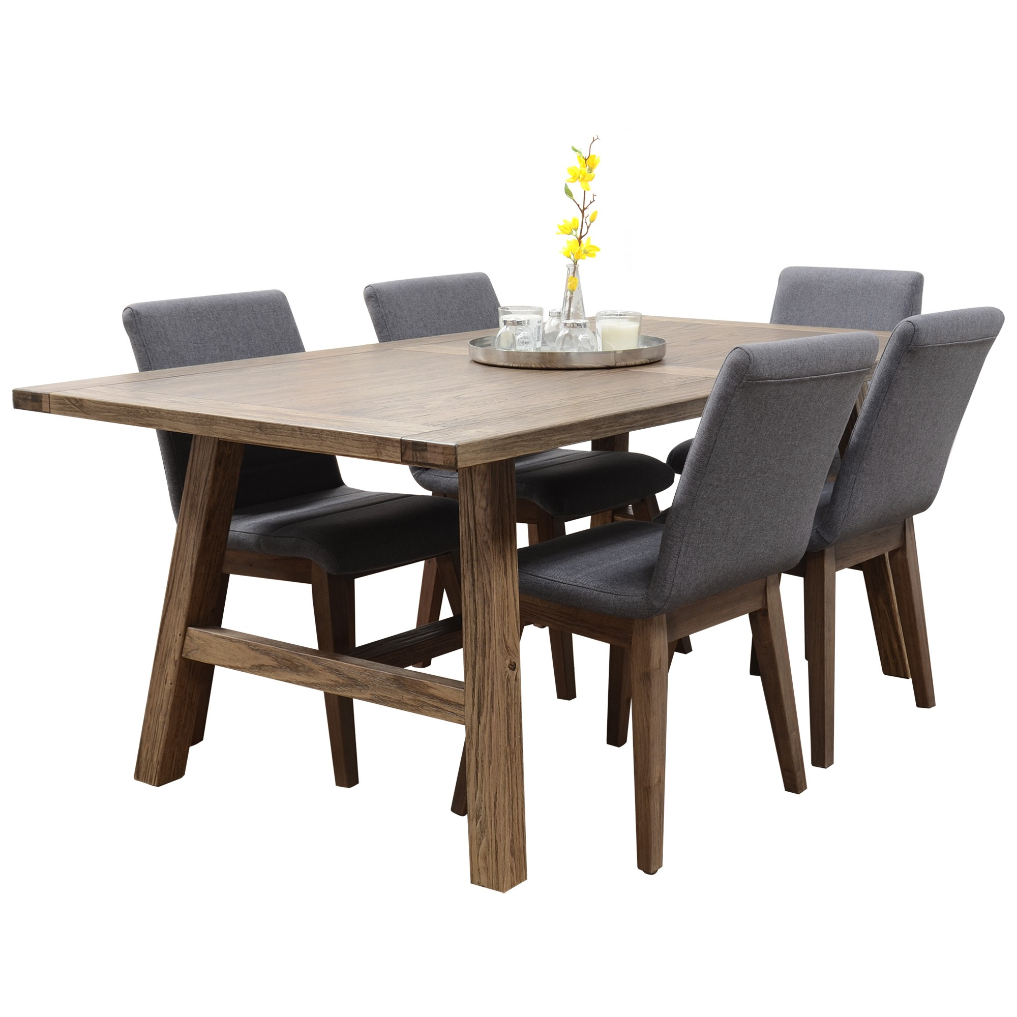 Harold Mountain Ash Timber 9 Piece Dining Table Set, 210cm, Smoke