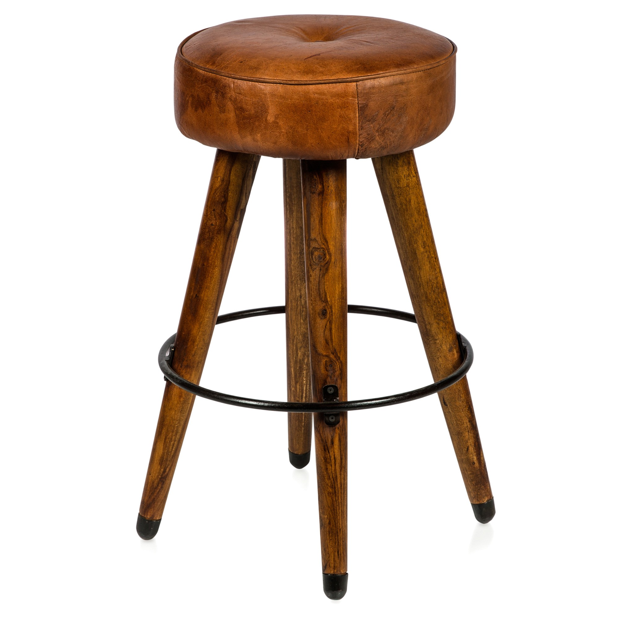 Infinity Rosewood & Leather Counter Stool