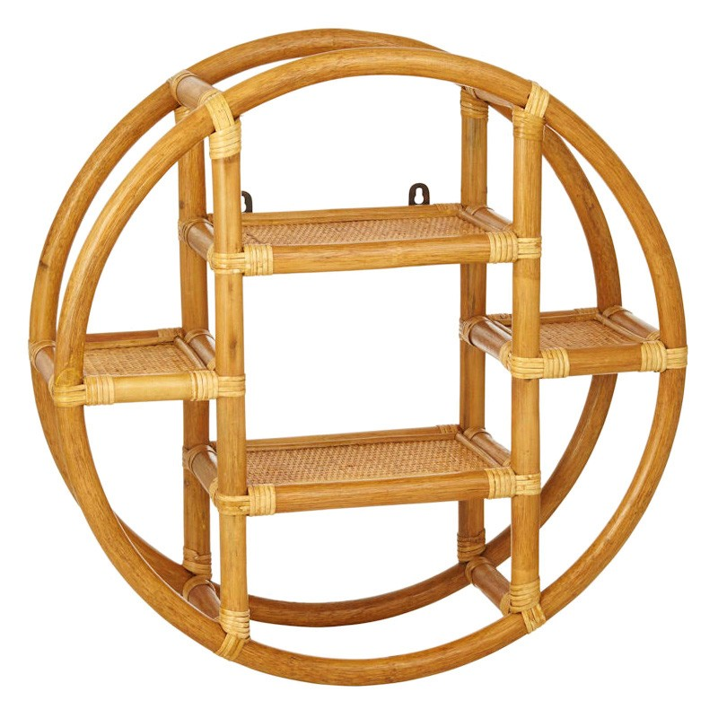 Koko Rattan Round Wall Shelf