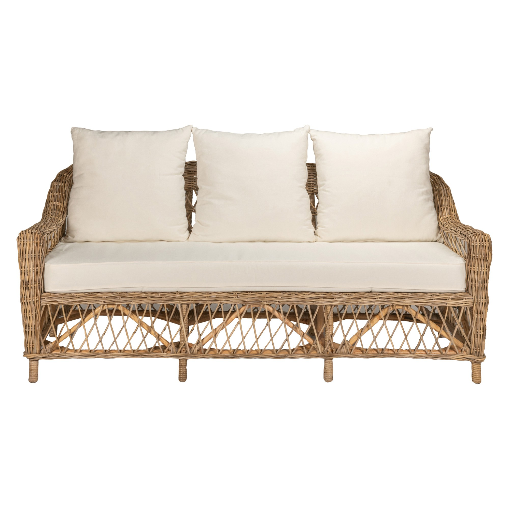 Nassau Rattan Sofa, 3 Seater, Natural / Oatmeal