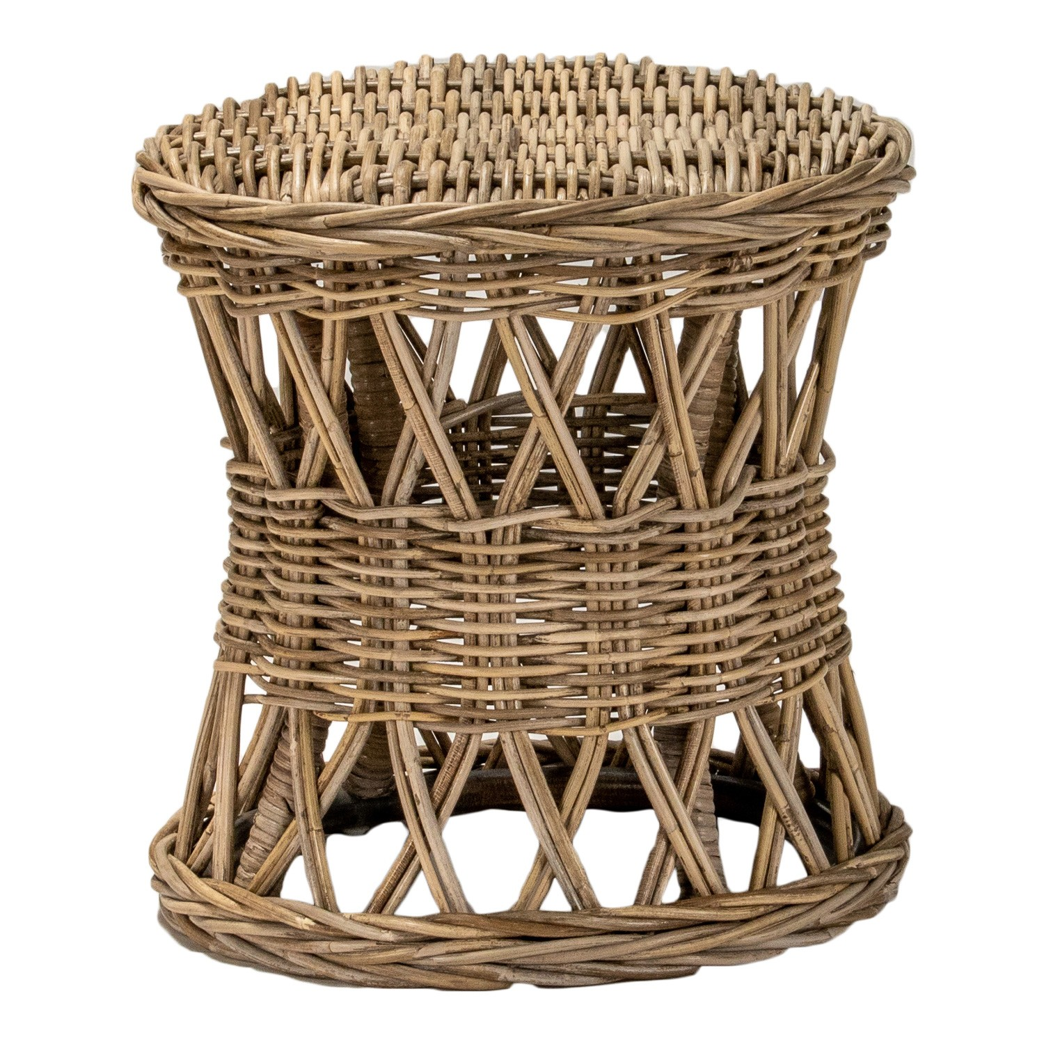 Nassau Rattan Round Side Table, Natural