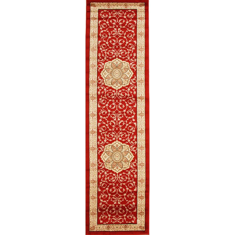 Istanbul Medallion Turkish Made Oriental Runner Rug, 300x80cm, Red