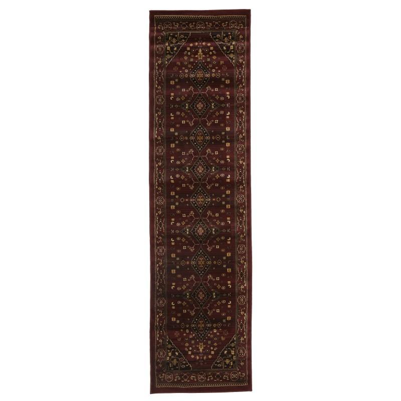 Istanbul Shiraz Turkish Made Oriental Rug, 300x80cm, Burgundy