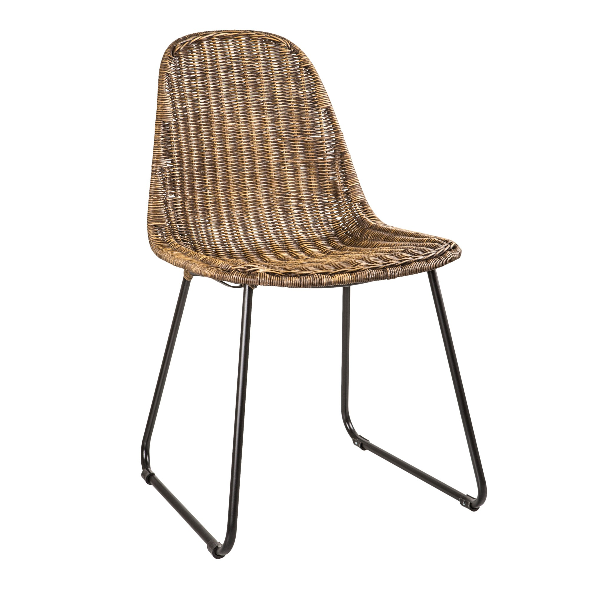Cicio Rattan & Metal Dining Chair, Black Wash