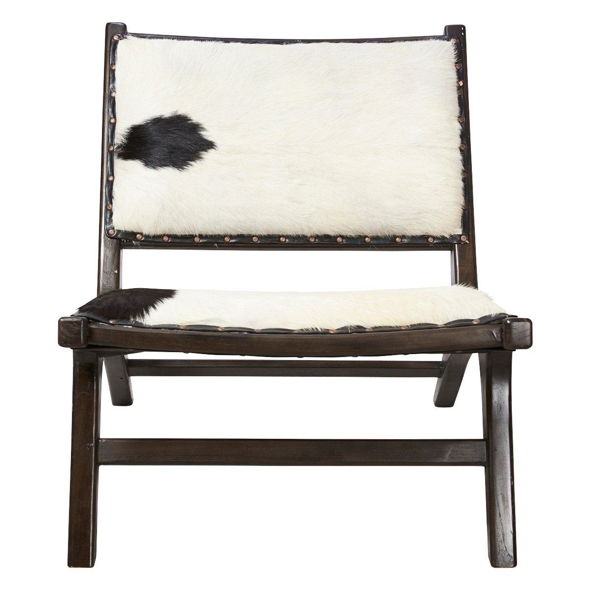 Zara Goat Hide & Teak Lounge Chair, Black / White