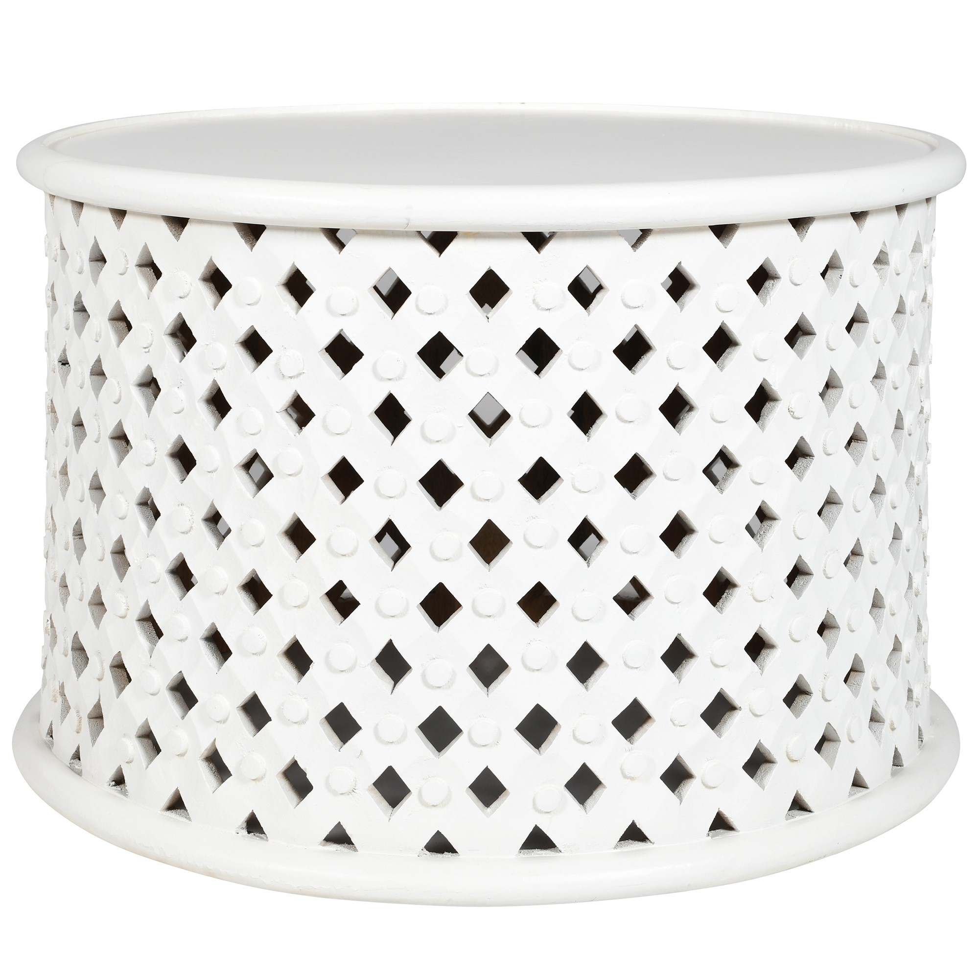 Jaipur Mango Wood Round Coffee Table, 76cm, White