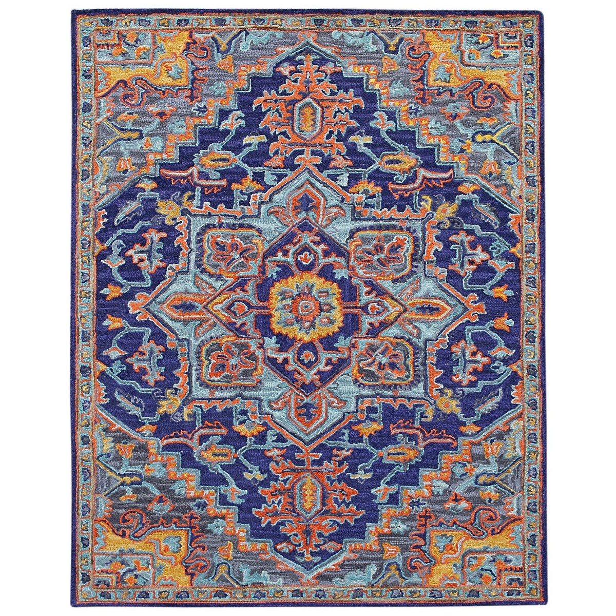 Boho Hand Tuffted Wool Rug, 160x230cm, Blue Violet