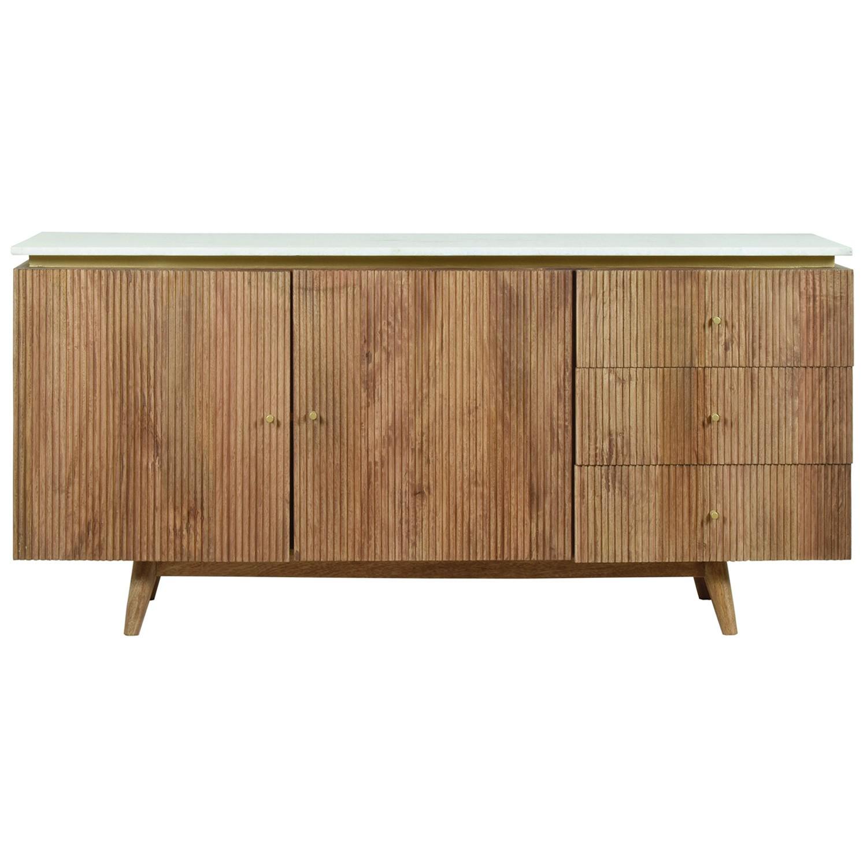 Maroota Marble Topped Mango Wood 2 Door 3 Drawer Sideboard, 160cm